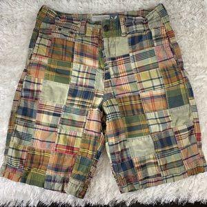 American Eagle Madras Plaid Distressed Shorts 33